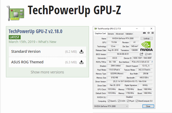 GPU-Z更新了v2.18.0版本,新增了对GTX 1660等显卡的支持